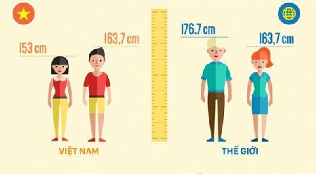 chiều cao trung bình của người việt nam so với thế giới