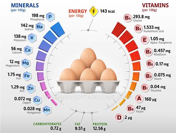 hàm lượng dinh dưỡng có trong trứng
